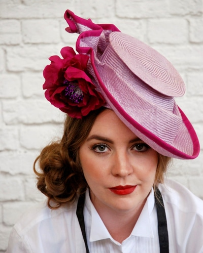 pink and purple hat by cessiah alice millinery