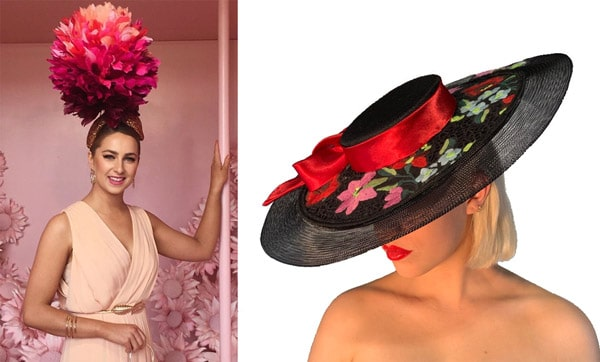statement headpieces floral pink
