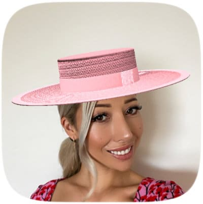 Boater Hat millinery pink virtual hat