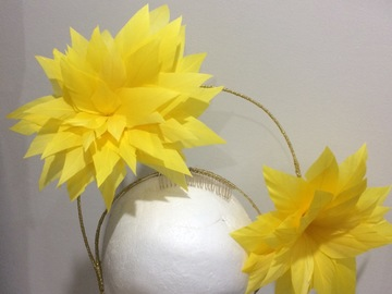 For Rent: Sunny yellow feather flower crown