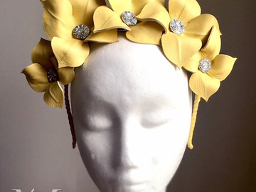 For Sale: Lily - Yellow Leather Crown