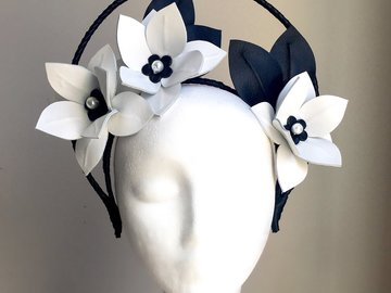 For Sale: Hope - Black & White Leather Halo Crown
