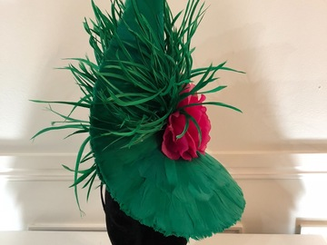 For Rent: Feathered Green/Pink Headpiece by Cynthia Jones-Bryson