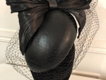 For Rent: Black Leather Box Percher with Veiling - by Millinery by Mel