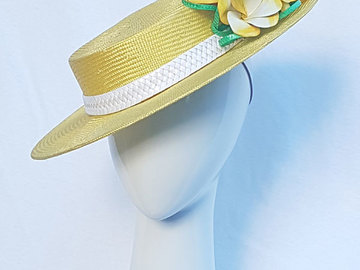 For Rent: Yellow Boater Hat with Frangapani's