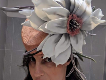 For Rent: Peach Millinery with Oversized Flower