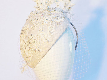 For Sale: Ivory Bridal headpiece with beaded lace and veiling