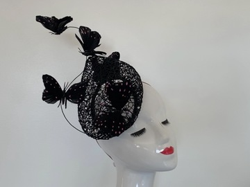 For Rent: Black and Pink Butterfly Fascinator