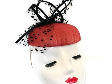 For Sale: Coral and Black Silk Abaca Fascinator