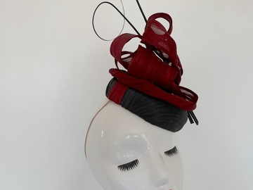 For Sale: Black and Burgandy Silk Abaca Fascinator