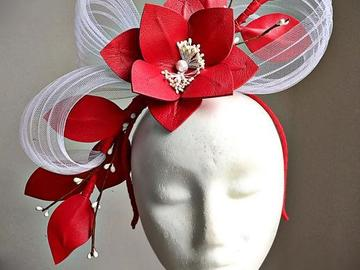 For Sale: Harriet - Red Leather Fascinator