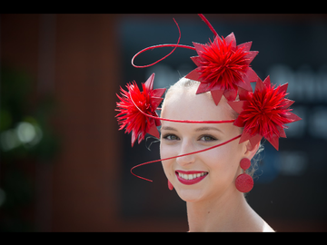 For Rent: Red floral headpiece with quills