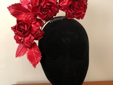 For Rent: Red metallic metal rose crown