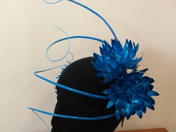 For Rent: Blue metallic metal flowers with ombré quills