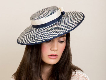 For Sale: Mini Hepburn wide brim hat in Navy and White