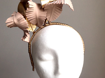 For Sale: Tilly - Nude and Gold Leather Fascinator