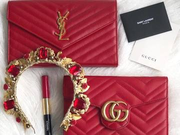 For Rent: 'Brie' Red and Gold Embellished Headband