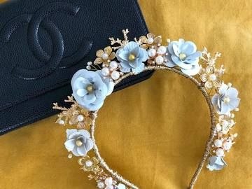 For Rent: 'Emma' White and Gold Embellished Headband
