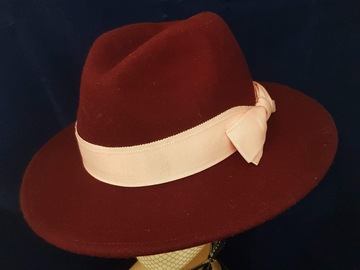 For Sale: Burgundy & Blush Fedora
