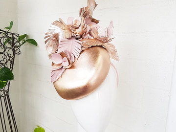 For Sale: Rose Gold / Blush Pink leather headpiece