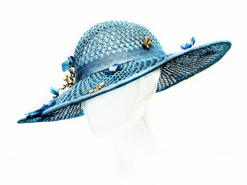 "For Sale: ""Belle"" Baby Blue Straw Mesh Hat With Graduating Brim"