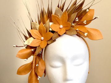 For Sale: Georgie - Mustard and Gold Fascinator