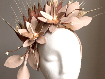 For Sale: Georgie - Nude and Rose Gold Leather Fascinator