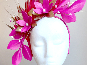 For Sale: Georgie - Pink and Gold Leather Fascinator