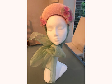 For Sale: Pink headpiece with silk organza bow