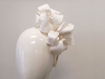 For Sale: Lilies Afloat in Ivory Dupion