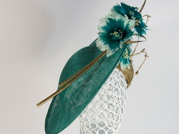 For Sale: Green and Gold hat with hand made Feather flowers