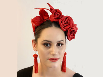 For Sale: Red Leather Rose Headband SALE