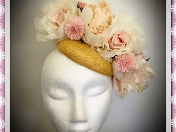For Sale: Mustard Floral Button Headpiece