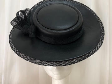 For Rent: Black Leather Boater Swirl Hat