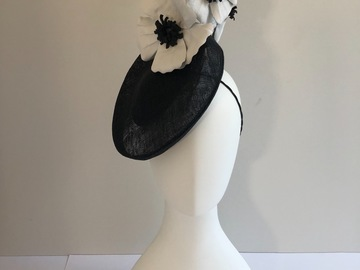 For Sale: Black sinamay saucer with white leather poppies