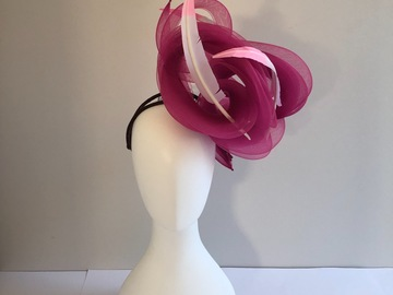 For Sale: Magenta crinoline swirl with floating feathers