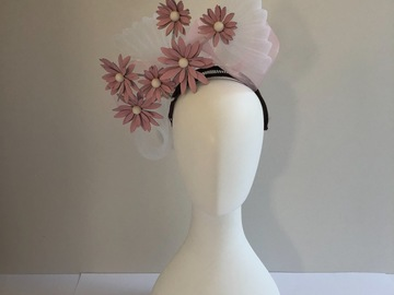 For Sale: Pink leather daisies with crinoline swirl