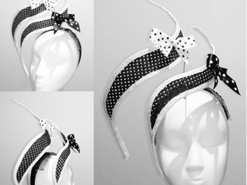 For Sale: Black and white wired fascinator with bows