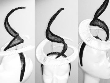 For Sale: Black & white mesh fascinator