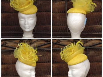 For Sale: Brand New yellow Sinamay with feathers