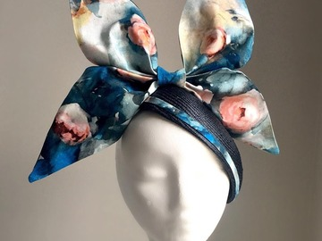 For Sale: Greta - Navy Floral Hat with Linen Bow