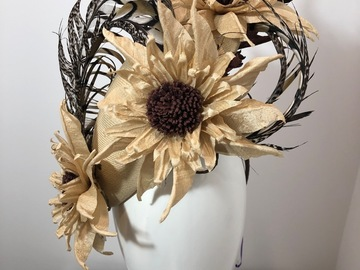 For Sale: Vintage Straw , silk flowers and sculptured Pheasent feathet