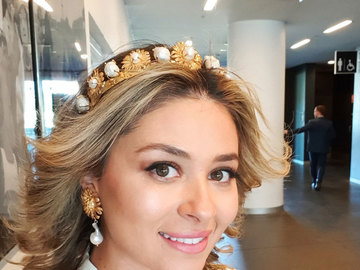 For Rent: CHRISTIE NICOLAIDES CAMELIA CROWN AND EARINGS