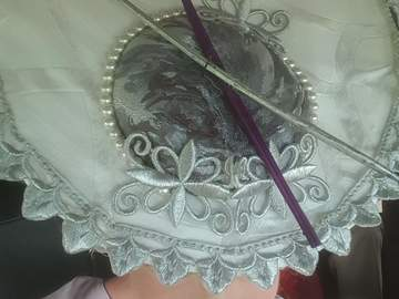 For Sale: Gorgeous Silver White Lavender Front Disc Percher Hat