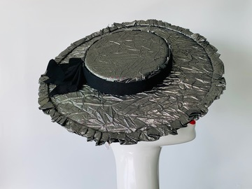 For Sale: Silver and Black Ruffle Hat