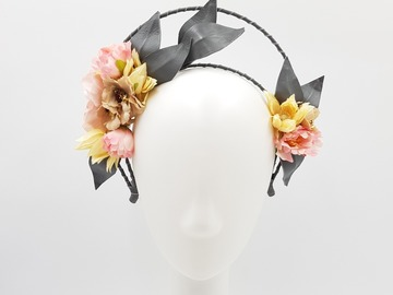 For Sale: Floral & Leather Leaf Fascinator