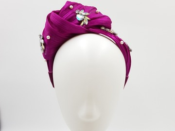 For Sale: Magenta Embellished Turban Headband