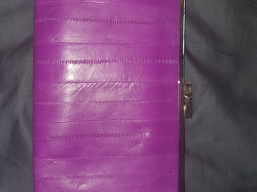 For Rent: Electric purple eel skin clutch