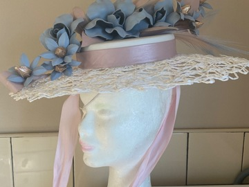 For Rent: Millinery by Mel white pastel pink and blue boater