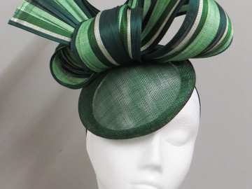 For Sale: Green striped pillbox hat